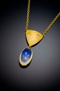Moonstone with Hammered  Gold