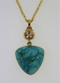 Turquoise and Peach Color Sapphire Pendant